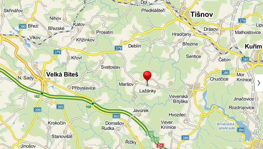 Lažánky mapa